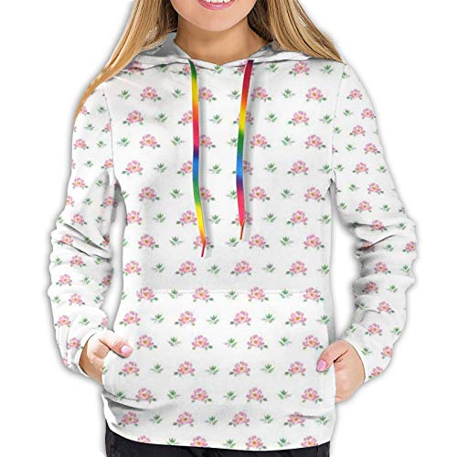 Women's Fashion Hoodies 18443D Print,Pastel Plumeria Romantic Branches Shabby Summer Blooming Artsy,Classic Pullover Hooded Sweatshirt,Small
