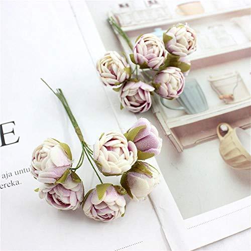 6 ofartificial bundels van kleine thee knop roze bloem krans handgemaakte bloem knop hoofd DIY voor de bruiloft decoratie thuis,purper