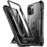 Poetic iphone 12 Pro Max 両面ケース、アップル アイフォン12promax 専用 スマホケース2020 耐衝撃、スタンド付、防塵、スクリーン保護付、 iPhone 12 Pro Max (6.7インチ) ミリタリーケース、ブラック