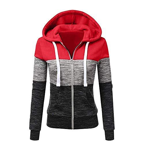 Newbestyle Jacke Damen Sweatjacke Hoodie Sweatshirtjacke Pullover Oberteile Kapuzenpullover (Reinrot grau, L)