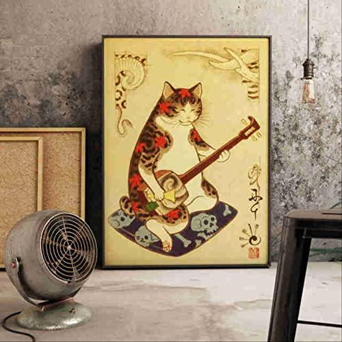 BAITDAOYAO Póster de la cultura del gato japonés Samurai Swordsman Cat Wall Art Canvas Painting Murales Decoración del hogar Sin marco 50 * 75Cm (20 'X30')