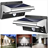 Solar Lights Outdoor, 3 Optional Modes Solar Power Security Light with Motion Sensor, Stainless Steel Waterproof Solar Flood Lights for Front Door, Backyard, Patio,Porch,Path, Deck (2PCS)