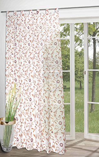 Set of 2 (= 2 pieces) - trendy tab-top curtain / decorative curtain 'Terra Flowers'