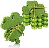 com-four Posavasos 16x Hechos de Fieltro, Posavasos de Fieltro en Forma de trébol como un Amuleto de la Suerte, decoración para el Día de San Patricio (16 Piezas - Fieltro Verde Oscuro/Verde Claro)