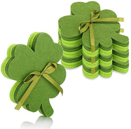 com-four® 16x Untersetzer aus Filz, Filzuntersetzer in Kleeblattform als Glücksbringer, Deko für St. Patricks Day (16-teilig - Filz dunkelgrün/hellgrün)