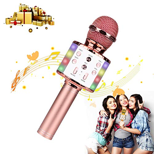 Micrófono Karaoke Bluetooth, Guiseapue Microfono Inalámbrico Karaoke Portátil con Luces LED para Niños Canta Partido Musica (Oro rosa)