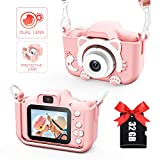 Kids Camera for Girls and Boys, Digital Dual Camera 2.0 Inches Screen 20MP Video Camcorder Anti-Drop Children Cartoon Selfie Camera for Birthday Gift-32GB Memory Card Included