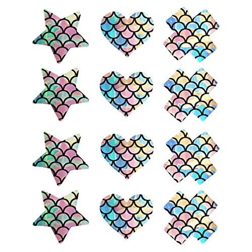 PRETYZOOM 6 Paar Tepelhoezen Sexy Tepel Pasteitjes Wegwerp Zeemeermin Schaal Patroon Tepelhoezen Sparkly Borst Stickers Sexy Kleurrijke Glanzende Tepel Sticker Voor Vrouwen Dame