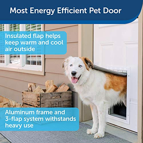 PetSafe Most Energy Efficient Pet Door Extreme Weather Aluminum Cat and Dog Door - 3 Flap Insulation - Easy DIY Installation - for Small, Medium, and Large Pets