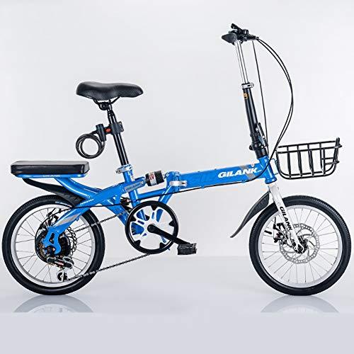 HECHEN Mini Fahrrad 20 Zoll Klapprad Faltrad Nabenschaltung Klapprad 6 Gang Stoßdämpfung GeschwindigkeitKlappfahrrad Folding Bike Herren-Damen Bicycles mit Rücksitzrahmen,Blau