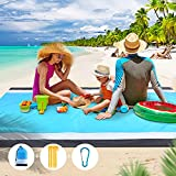 Beach Blanket Sandproof Beach Mat, Waterproof Sand Free Picnic Blankets, 79' X 83' Large Mats for 2-7 Adults, Outdoor Blanket for Travel, Camping, Hiking