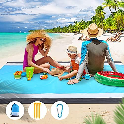 Beach Blanket Sandproof Beach Mat, Waterproof Sand Free Picnic Blankets, 79' X 83' Large Mats for...