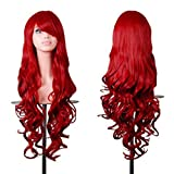 Rbenxia Wigs 32' Women Wig Long Hair Heat Resistant Spiral Curly Cosplay Wig Anime Fashion Wavy Curly Cosplay Daily Party Red