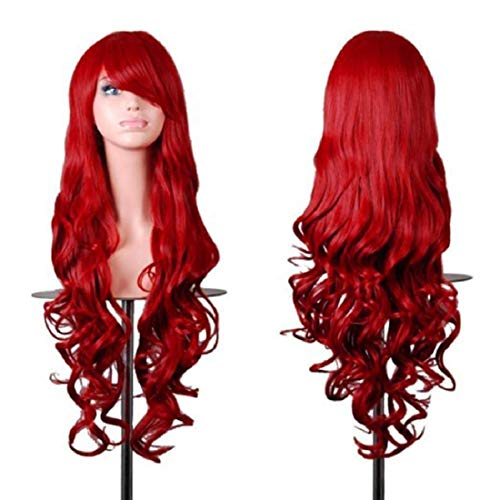 """Rbenxia Wigs 32"""" Women Wig Long Hair Heat Resistant Spiral Curly Cosplay Wig Anime Fashion Wavy Curly Cosplay Daily Party Red"""