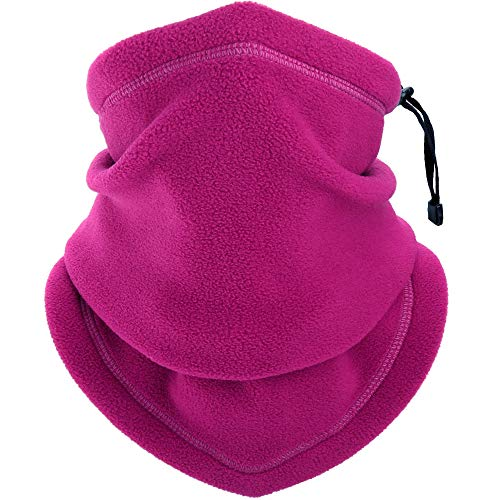 YOSUNPING Windproof Fleece Neck Gaiter Warmer Face Scarves Mask for Cold Weather Winter Keep Warm Scarf Wrap for Ski Snowboard Motorbike Cycling Camping Hiking Fishing Men Women Plum purple