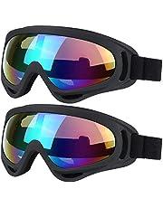 VILISUN スキーゴーグル 2個セット オートバイゴーグル 眼鏡 防塵 防風 防雪 ゴーグル スノボゴーグル サングラス UV400 紫外線カット フレーム柔軟性 目が疲れにくい 登山/スキー/バイク/アウトドアスポーツに全面適用 ジュニアと大人向け 男女兼用 (カラフル+クリア)
