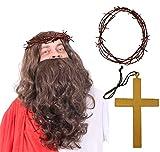 ACCESORIOS DE DISFRAZ CONJUNTO DE JESUS CRISTO PARA ADULTOS CON PELUCA LONGA CON BARBA LONGA MARRON,...