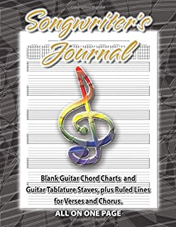 Songwriter's Journal: Blank Guitar Chord Charts and Guitar Tablature Staves, plus Ruled Lines for Verses and Chorus.