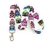 Trendy Owl Print Lanyard Key Chain Id Badge Holder