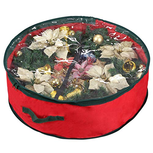 Primode Xmas Wreath Storage Bag 24' | Garland Wreaths Container with Clear Window for Easy Holiday Storage | Durable 600D Oxford Material (Red)