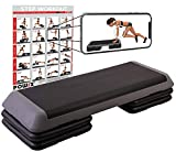 POWRX Step Fitness/aeróbic escalón XXL (110 x 42 cm) - Stepper Gimnasio Ideal para Ejercicios de Body Pump - Altura Regulable y Superficie Antideslizante + PDF Workout (Negro/Gris)
