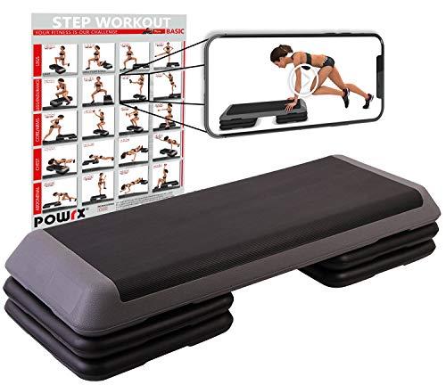 POWRX Step fitness/aerobic escalón XXL (110 x 42 cm) - Stepper gimnasio ideal para ejercicios de Body Pump - Altura regulable y superficie antideslizante + PDF workout (Negro/Gris)