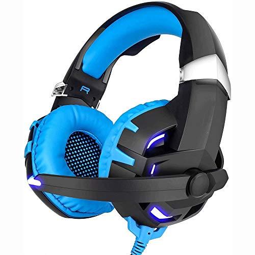 Grote haai Gaming Headset - High-Fidelity 7.1 Surround Sound W/Broadcast Kwaliteit Microfoon - Memory Foam Oorkopjes LED Licht, Bass Surround, Zachte oordopjes, Blauw