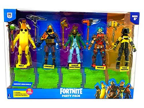 FTNT Party Pack de 5 figuras de acción – Peely, Longshot, Yond3r (Spectrum), Ruckus y Toxic Trooper – Juego de 15 piezas – 5 materiales de construcción, 5 herramientas de cosecha y 5 figuras