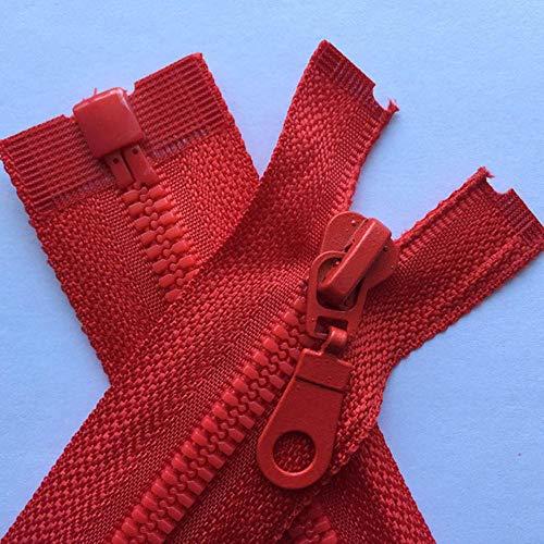 3 piezas 5# 70 cm 80 cm de longitud Cremalleras de resina de alta calidad Color Verde Negro Azul Ropa deportiva de extremo abierto Ropa con cremallera Accesorios de costura-11 rojo, 5#, 80 cm