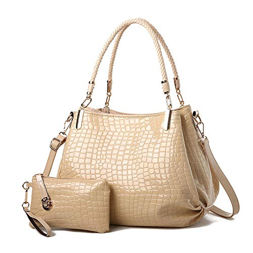 xzczxc Women Crocodile Pattern Zipper Handbags Woman Composite Shoulder Messenger Bags 34 * 20 * 26Cm Khaki