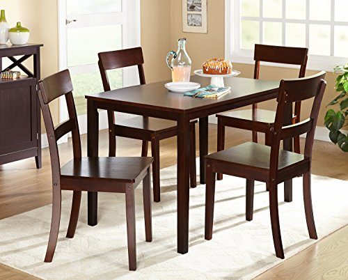 Target Marketing Systems Ian Collection 5 Piece Indoor Kitchen Dining Set with 1 Dining Table, 4 Chairs, Espresso (29915ESP)