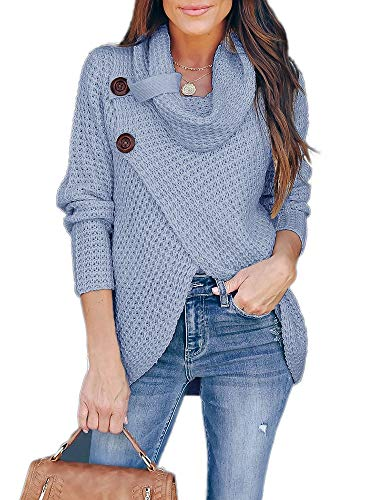 Inorin Womens Sweaters Casual Cowl Neck Chunky Cable Knit Wrap Pullover Sweater