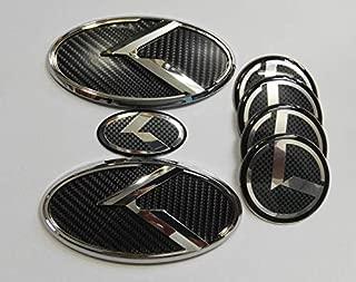 Xitek KA-S7CB 7X New Silver Carbon Fiber K Front Hood Trunk Rear Wheel Hub Caps Steering Wheel Logo Badge Emblem Fit KI OPTIMA K5 2011-2018