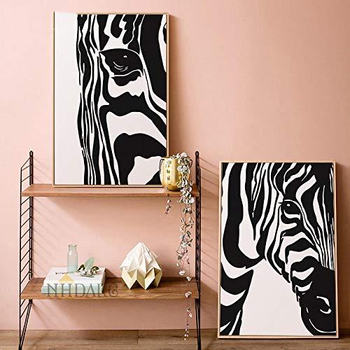 woplmh Arte de la Lona Pintura Carteles e Impresiones Animales de Blanco y Negro Arte de la Pared de Cebra Cuadros de Pared para Sala de Estar Moderna-50x70cmx2 / sin Marco