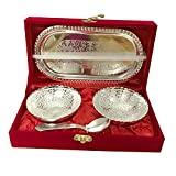 Handmade Designer 2 Bowls 2 Spoons 1 Tray with Comes with Gift Pack use for Dry Fruits, Gifting Purposes on Wedding Aniversary Diwali Navratri Occasion ,Valentine Day Gifts