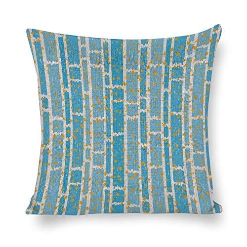 Juego de fundas de almohada de 18 x 18 cm, diseño de rayas, color azul