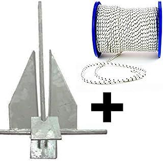wellenshop Platten-Anker Danforth-Anker Bootsanker Stahl Verzinkt 4 kg / 6 kg / 8 kg  Ankerleine Bootsleine Polyester-Leine 30 m Durchmesser 10 mm