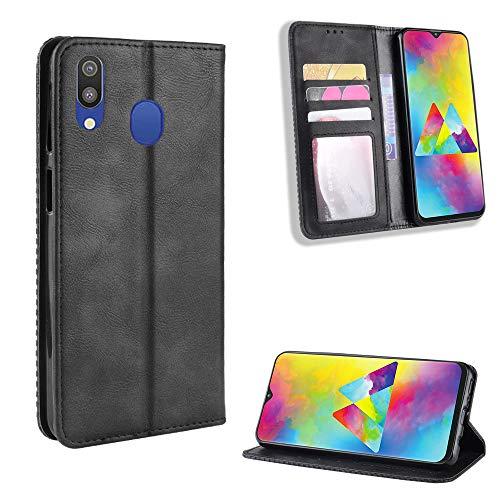 TTUDR Galaxy M20 Premium Leder Flip Schutzhülle [Standfunktion] [Kartenfächer] [Magnetverschluss] lederhülle klapphülle für Samsung Galaxy M20 - TTBYU010202 Schwarz