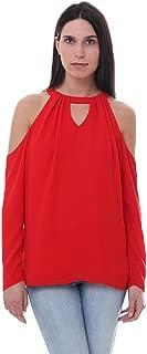 Blouses Red Cold Shoulder Top