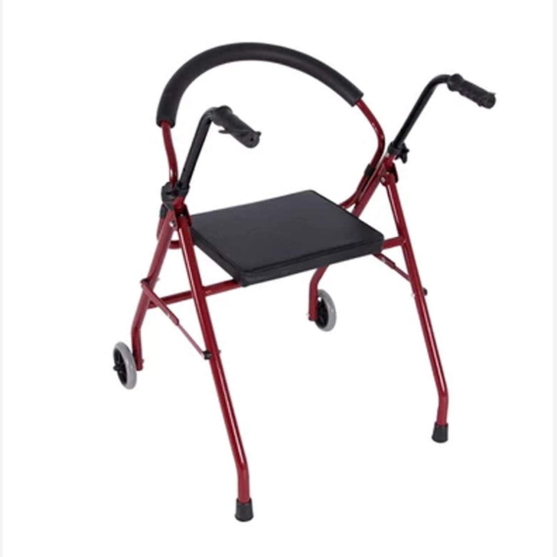 CLYZQX Älterer Spaziergänger, 2-Rad-Sitzunterstützer, Vierbeiniger, Vierbeiniger, Vierbeiniger, Faltbarer Gehstock, Rot B07PMCZSWX  Menschliche Grenze 0bdba0