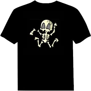 Pawant Adult Couples Audio Control LED Flashing Night Club Wear Cotton T-Shirt Dance Skull S
