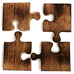 Crafkart Puzzle bar Drink Coasters/Trivet Natural Wood Set of 4