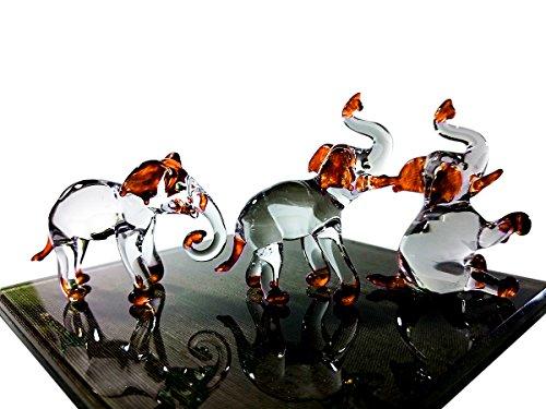 Sansukjai Juego de 3 Figuras de Elefante pintadas a Mano en Color Naranja y Cristal soplado a Mano