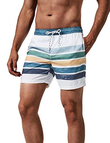 MaaMgic Herren Badehose Jungen Badeshorts Sporthose Schnelltrockend Sport Schwimmhose mit Mesh in vielen Farben, Weiß Blau Gestreift L