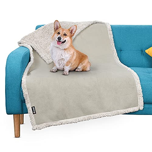 Pawsse Waterproof Pet Blanket, Pee Urine Proof Dog Blanket for Couch Sofa Bed, Soft Reversible Furniture Protector Cover, Liquid Resistance Blanket for Small Medium Dogs Cats