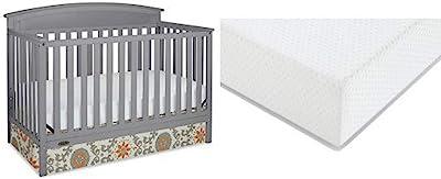 Graco Benton Convertible Crib + Graco Premium Foam Crib and Toddler Bed Mattress, Pebble Gray