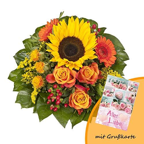 Dominik Blumen und Pflanzen, Blumenstrauß Sonnenlicht mit einer Sonnenblume, orangen Rosen, Germini, Färberdistel und Goldrute und Grußkarte Alles Liebe