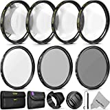 55mm Professional UV CPL ND4 Lens Filter and Close-Up Macro Accessory Kit for Lenses with a 55mm Filter Size
