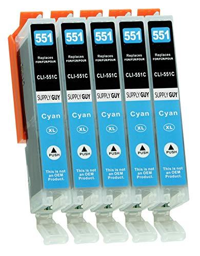 Supply Guy 5 Druckerpatronen mit Chip kompatibel mit Canon CLI-551 Cyan für IP-7250 IP-8750 IX-6850 MG-5450 MG-5550 MG-5650 MG-5655 MG-6350 MG-6450 MG-6650 MG-7150 MG-7550 MX-725 MX-925