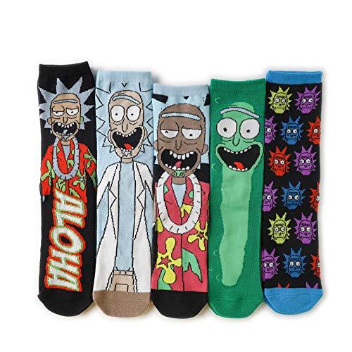 ROUNDER Calcetines de algodón con Personalidad de Dibujos Animados Rick y Morty Calcetines de Tubo Mediano Calcetines de Personajes de Anime 2 Pares-F (5 Pares)_Talla única